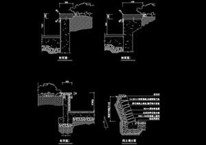园林景观挡土墙设计cad施工图