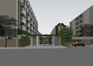 某豪宅項目現代洋房 聯排SU(草圖大師)精細模型