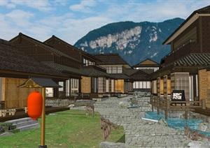 某日式古建建筑风格SU(草图大师)精细模型