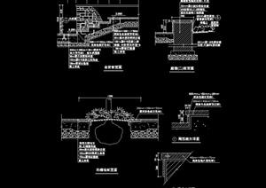园林景观台阶挡墙设计cad施工图