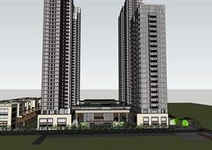 某现代风格高层豪宅 商墅SU(草图大师)精细模型