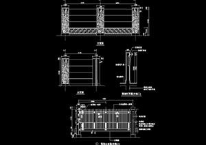现代详细的围墙素材设计cad施工图