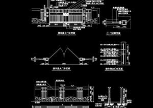 现代详细的整体完整的围墙设计cad施工图