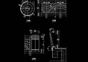 园林景观详细的节点栏杆cad方案图