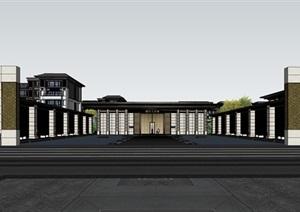 某中式風格售樓部、洋房、入口大門SU(草圖大師)精細模型、
