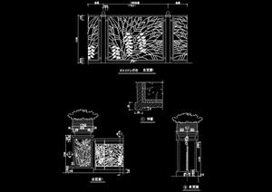 园林景观详细的完整栏杆节点cad施工图