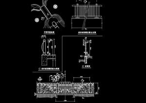 园林景观详细的完整栏杆设计cad施工图