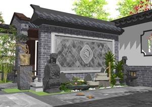 中式風格詳細的完整庭院景觀設計SU(草圖大師)模型