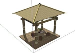 园林景观节点中式亭子素材设计SU(草图大师)模型