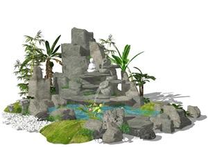 新中式假山石頭 庭院景觀 景觀小品跌水景觀SU(草圖大師)模型