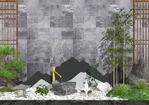 新中式庭院景觀 景觀小品 濱水景觀 石頭 鵝卵石 片石SU(草圖大師)模型1