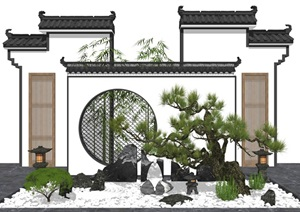 新中式景觀小品 庭院景觀 景墻 景觀樹 石頭 SU(草圖大師)模型