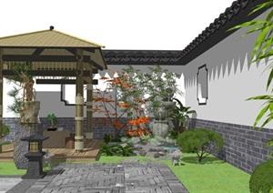 新中式庭院景觀景觀小品跌水景觀亭子假山石頭石磨盆景SU(草圖大師)模型