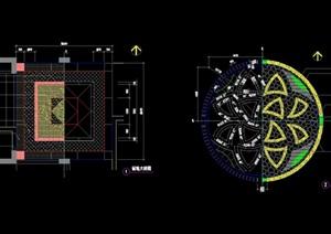 園林景觀兩個節點鋪裝圖案設計cad施工圖