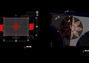 兩個地面節點鋪裝圖案設計cad施工圖