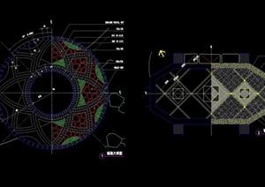兩個景觀節點鋪裝圖案設計cad施工圖