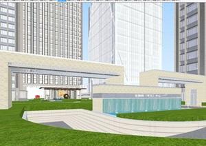 长安现代金融中心高层办公楼建筑SU(草图大师)模型