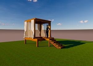 滨水景观下沉休憩廊架模型