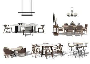 現代餐桌椅 桌子 椅子組合SU(草圖大師)模型