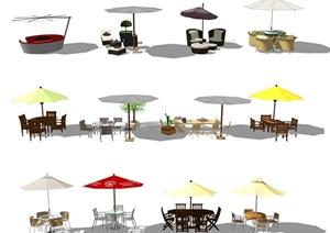 現代戶外遮陽傘桌椅組合 休閑椅SU(草圖大師)模型