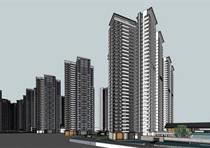 某現代風格高層住宅SU(草圖大師)精細模型