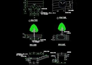 现代园林景观树池及坐凳节点cad施工图