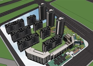 某中式风格居住区高层 洋房SU(草图大师)精细模型