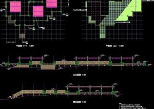 现代园林景观栈道节点素材cad施工图