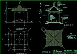 古典中式竹园亭子设计cad施工图