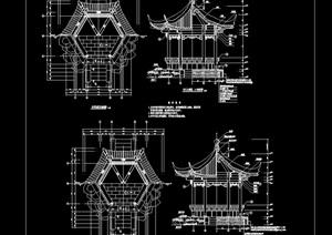 园林仿古建亭子详细完整设计cad施工图