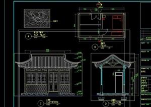 园林古典中式值班室建筑设计cad方案