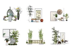 新中式景观小品 庭院景观 装饰品SU(草图大师)模型