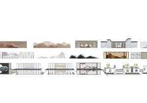 新中式景墙围墙景观小品SU(草图大师)模型