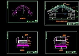 中式风格详细的拱桥园桥设计cad施工图