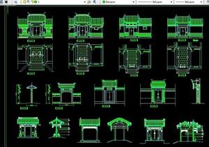 古典中式风格庭院门楼cad施工图