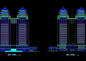 双子塔综合大楼设计cad方案图