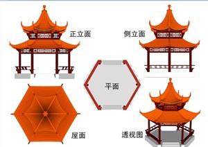 古典中式详细重檐六角亭全套cad施工图