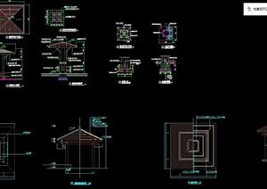 四角木亭设计cad施工设计图纸