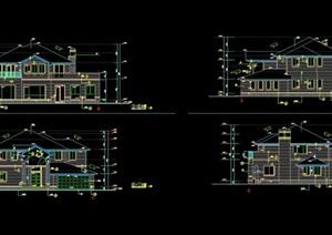 某详细的现代风格多层别墅设计cad施工图