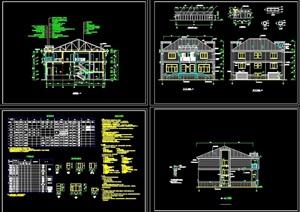 欧式风格详细的完整多层别墅设计cad施工图