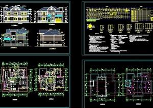 某欧式风格多层完整的住宅别墅设计cad施工图