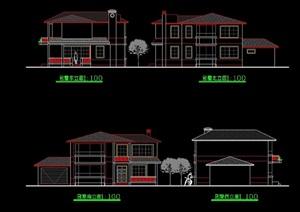 某欧式风格多层建筑别墅设计cad方案