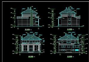详细的欧式多层完整别墅设计cad施工图