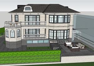 完整别墅外立面模型带庭院