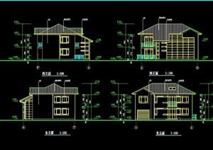 欧式风格详细的两层半住宅别墅设计cad施工图