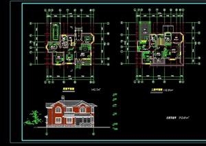 欧式风格多层详细的居住别墅设计cad方案图