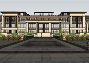 某新中式风格联排别墅SU(草图大师)精细模型