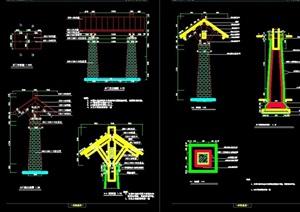 中式园林景观详细大门设计cad施工图