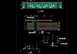 现代独特园林景观详细大门设计cad施工图