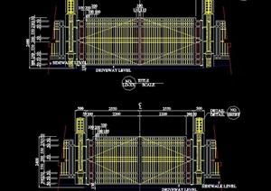 园林景观详细栏杆大门设计cad方案